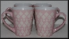 "MBA #2323-0054  ""Set Of 4 Pink & White Coffee/Tea Cups"""