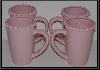 "MBA #2323-0057  ""Set Of 4 Pink Ceramic I. Godinger & Co Coffee Cups"""