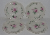 "MBA #2323-0083  ""Set Of 4 Pink Rose Bavarian Style Toast Plates"""