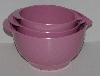 "MBA #2424-0072  ""Set Of 3 Plastic Mauve Colored Nesting Mixing Bowls"""