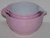 "MBA #2424-0064  ""Set Of 3 Pink & White Plastic Nesting Mixing Bowls"""