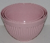"MBA #2424-0036  ""Set Of 3 Pink Thick Plastic Nesting Mixing Bowls"""