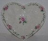 "MBA #2525-0135  ""Pink Rose Ceramic Heart Shaped Deviled Egg Dish"""