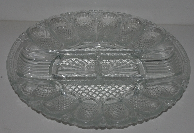 "MBA #2525-0182  ""Fancy Clear Glass Deviled Egg & Relish Dish"""