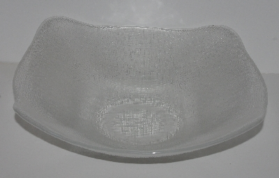 "MBA #2525-0287  ""IVV Fancy Clear Ice Glass Crosshatch Large Bowl"""