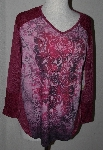 "MBA #2525-0016  ""Set Of 2 One World Knit Lace Mixed Media Long Sleve Hi-Lo Print Top"""