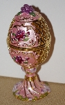 "MBA #1818-234  ""Pink Enameled Rose Egg With Stand"""