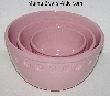 "MBA #2626-0070  "" 2005 Set Of 3 Pink Chantal Ceramic Nesting Mixing Bowls"""