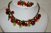 "**Sweet Romance ""Cherries Jubilee"" Necklace W/ Matching Clip On Earrings"
