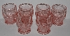 "MBA #2727-749   ""Set Of 6 Fancy Pink Glass Tumblers"""