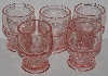 "MBA #2727-756   ""Set Of 5 Fancy Cut Pink Glass Tumblers"""