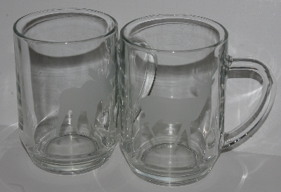 "MBA #2727-529    ""Set Of 2 1990's Luminarc Large Etched Clear Glass Mugs"""