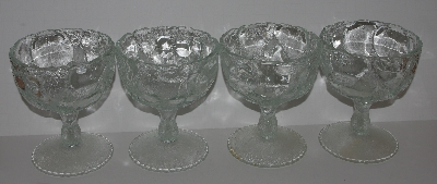 "*MBA #2727-0401  ""1980's Set Of 4 Clear Glass Fruit Patterned Large Stemed Desert Dishes"""