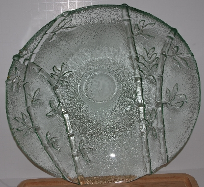 "MBA #2727-0420   ""Large Sea Green Glass Bamboo Embossed Glass Serving Bowl"""