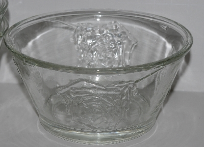 "MBA #2727-460  ""Set Of 5 American Bouquet  Clear Crystal Rose Embossed Desert Bowls"""