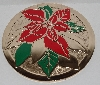 "MBA #2727-0390   ""1990's Set Of 8 Hand Painted Poinsettia Brass Coasters"""
