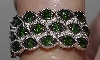 "MBA #2727-0171   ""Diamond Treasures Fancy Green Diamond 3 Row Ring"""