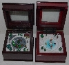 "+MBA #2727-0074   ""Mr Christmas Set Of 2 Hand painted Miniture Wood Music Box's"""