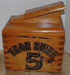 "MBA #2828-250   ""1980's 5 Cent Wooden Shoe Shine Box With Brushes"""