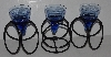 "MBA #2828-184   ""Set Of 3 Fancy Blue Glass With Metal Stands Votive Candle Holders"""