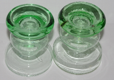 "MBA #2828-217   ""Set Of 2 Green Glass  Candle Holders"""