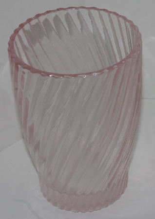 "MBA #2828-0001   ""Pink Glass Hand Soap  Dispenser & Matching Drinking Glass"""""