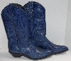 "MBA #2929-0111   ""1990's Code West French Blue Hand Tooled Leather Cowboy Boots"""