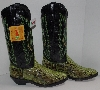 "MBA #2929-0067  "" 2005 Laredo Womens Lime Green Python Snake Skin Cowboy Boots"""