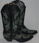 "MBA #2929-0129   ""The Manuel Collection Limited Edition Black Leather /Green Leaves Embroidery Cowboy Boots"""