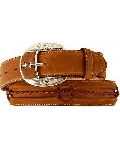 "MBA #2929  ""Justin Brown Leather Barbed Wire Belt"""