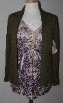 "MBA #2929-270   ""One World Olive Sweater Knit 3/4 Sleeved Embelished Top With lace Back Cardigan Set"""