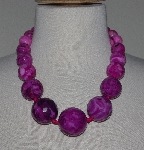 "MBA #2929-498    ""Large Faceted Pink Crazy Lace Agate Bead Necklace"""
