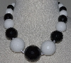 "MBA #2929-512   ""Large Faceted White & Black Onyx Bead Necklace"""