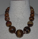 "MBA #2929-505   ""Large Faceted Tiger Eye Bead Necklace"""
