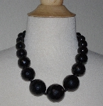 "MBA #2929-0009   ""Large Faceted Black Onyx Bead Necklace"""