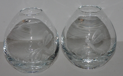 "MBA #3030-509   ""Set Of 2 Krorno Glass Dragonfly Etched Egg Shaped Vases"""