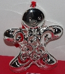 "MBA #3030-471    ""Set Of 2 Silverplated Crystal Accent Lenox Gingerbread Man Ornaments"""