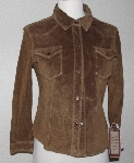 "MBA #2929-0259   ""1990's Scully Ladies Brown Washable Suede Shirt"""