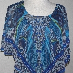 "MBA #3030-0120  ""One World Teal Printed Chiffon Top With Matching Knit Tank"""
