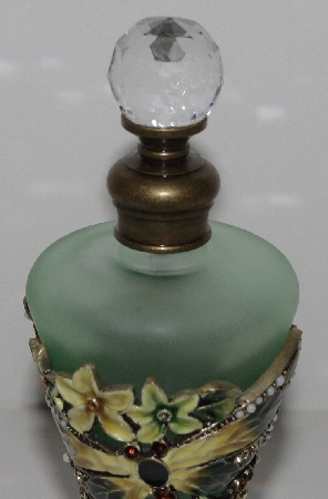 "MBA #3030-127  ""Jeweled Green Glass Dragonfly  Perfume Bottle"""