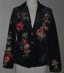 "MBA #2929-0001    ""Paparazzi Black Embroidered Floral Butterfly Corduroy Blazer"""