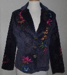 "MBA #3030-0037   ""Paparazzi Navy Embroidered Corduroy Blazer"""