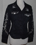 "MBA #3030-0032  ""Isaacs Designs Silverthorn Black Twill/Denim Embellished Jacket"""