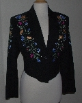 MBA #3030-0050  Manuel Collection Black Gaberdine Floral Embroidered Short Jacket""