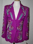 "MBA #3030-0061  ""Rickrageous One Of A Kind  Magenta Daffodil Embroidered Blazer"""