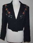 "MBA #3030-0087   ""Manuel Collect Black Gaberdine Floral Embroidered Short Jacket"""