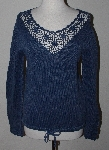 "MBA #3030-354   ""Newport News Blue Tie Bottom Knit Sweater"""