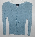 "MBA #3030-383    ""Joe Boxer Blue Knit Ribbon Front Sweater"""