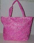 "MBA #3030-0097  ""Labrado Pink  Leather Hand Tooled Distressed Double Handle  Large Tote Bag"""