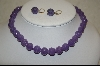 **  Lavender Jade Hand Carved Beaded Necklace W/ Matching Pierced Earrings